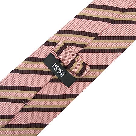Hugo Boss(휴고보스) 브라운 스트라이프 핑크 실크 면 혼방 넥타이