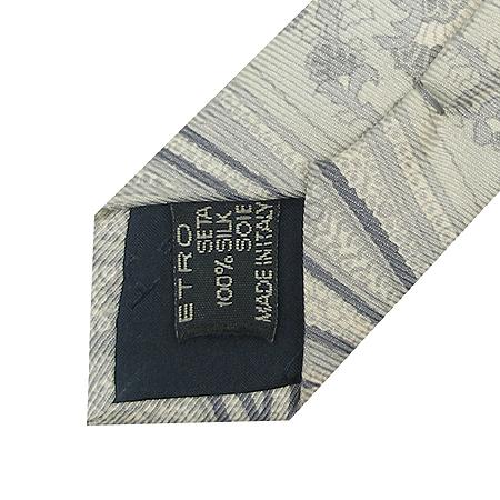 Etro(에트로) 그레이 페이즐리 실크 100% 넥타이