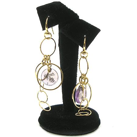 Gucci(구찌) 18K(750) 옐로우 골드 구찌 이니셜 라운드 원석 장식 귀걸이