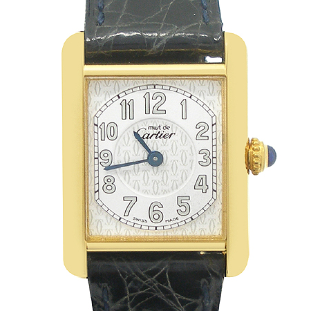 Cartier(까르띠에) W1013854 925 (실버) 머스트 탱크 금장 가죽밴드 여성용 시계