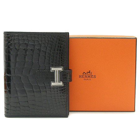 Hermes(에르메스) 블랙 엘리게이터 유광 레더 H은장 로고 장식 베안 반지갑