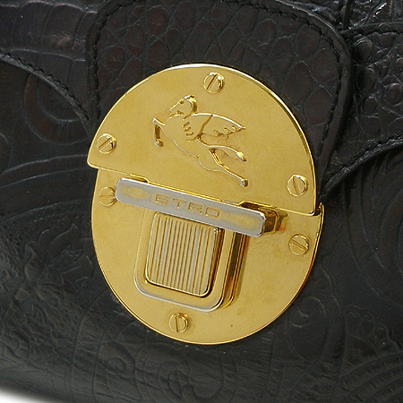 Etro(에트로) 15820 블랙 페이즐리 패턴 래더 금장 버클 숄더백