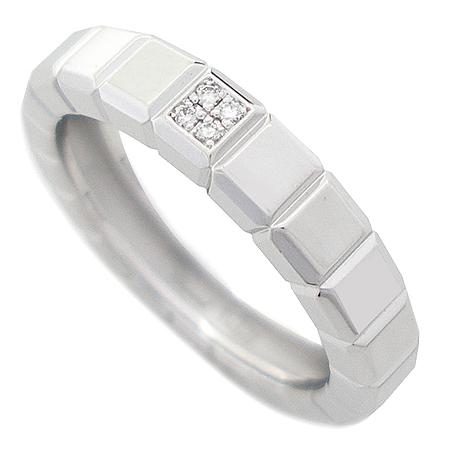 Chopard(쇼파드) 18K 화이트골드 아이스 큐브 4포인트 다이아 반지