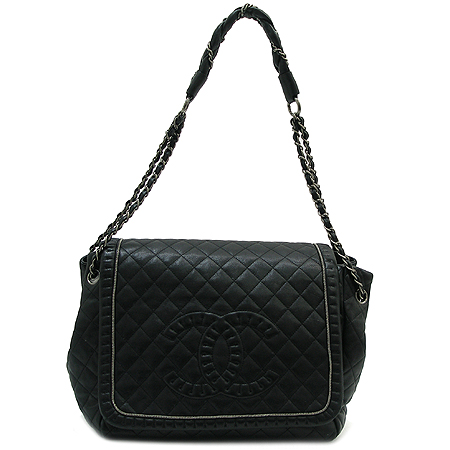 Chanel(샤넬) 로고 스티치 플랩 퀼팅 장식 은장 체인 숄더백