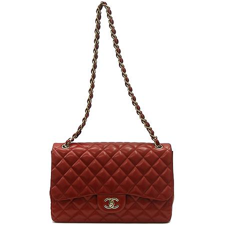 Chanel(샤넬) 레드컬러 램스킨 클래식 금장 체인 숄더백