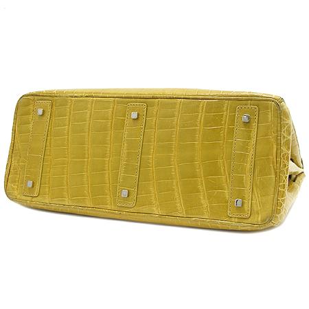 COLOMBO(콜롬보) 옐로우 컬러 크로커다일 벌킨34 토트백