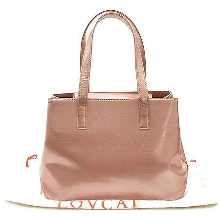 LOVCAT(러브캣) 핑크 에나멜 하트로고 토트백