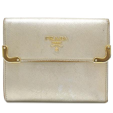 Prada(프라다) 1M0170 금장 로고 장식 골드 메탈릭 중지갑