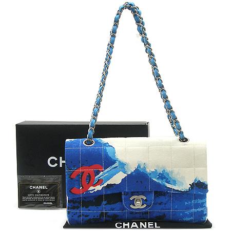 Chanel(샤넬) SUMMER 시즌 한정판 패브릭 퀼팅 클래식 은장 메탈 체인 숄더백