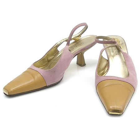Gucci(구찌) 핑크 스웨이드 배색 금장 애니멀 장식 여성용 구두
