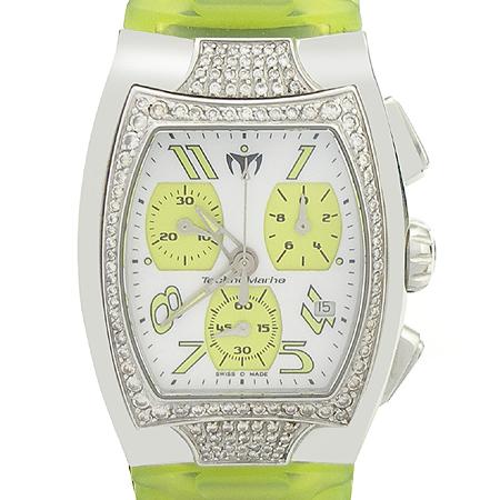 TechnoMarine(테크노마린) TS 14284 베젤다이아 자개판 크로노 러버밴드 시계