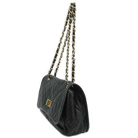 Chanel(샤넬) 빈티지 금장 더블포켓 블랙 레더 체인 숄더백