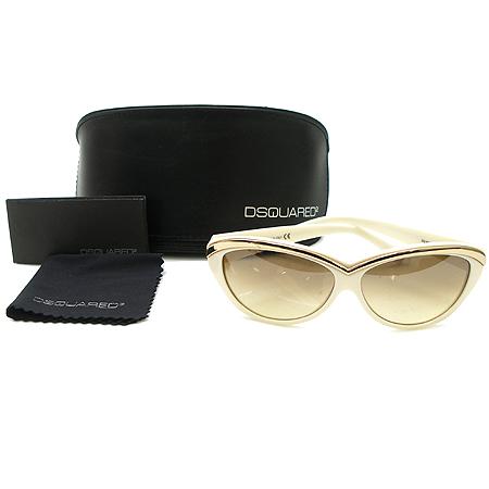DSQUARED2 (디스퀘어드2) DQ0018 금장 메탈 장식 크림 컬러 뿔테 선글라스 이미지2 - 고이비토 중고명품