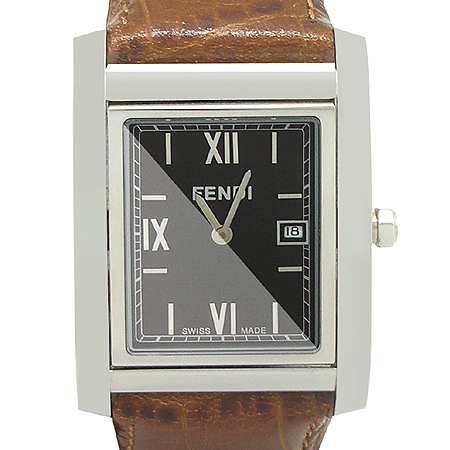 Fendi(펜디) F761122 FF 브라운 다이얼 스틸 스퀘어 가죽 밴드 시계