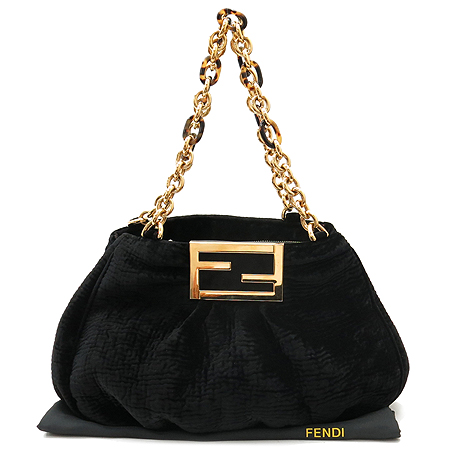 Fendi(펜디) 8RB615 링클 블랙 벨벳 금장 체인 숄더백