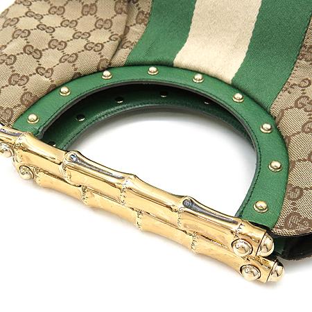 Gucci(구찌) 128989 GG 로고 자가드 삼색 스티치 금장 뱀부 핸들 토트백
