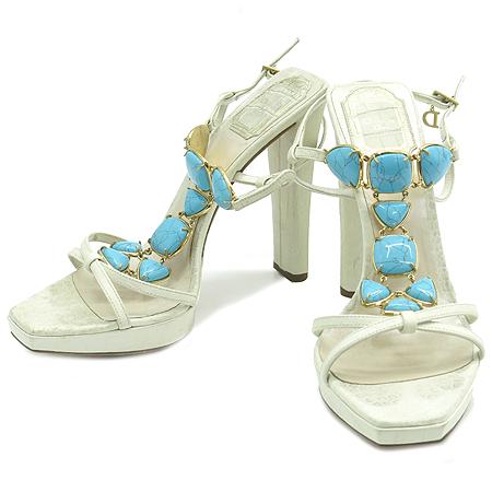 Dior(크리스챤디올) 스카이 블루 스톤 장식 여성용 하이힐 샌들 [강남본점]