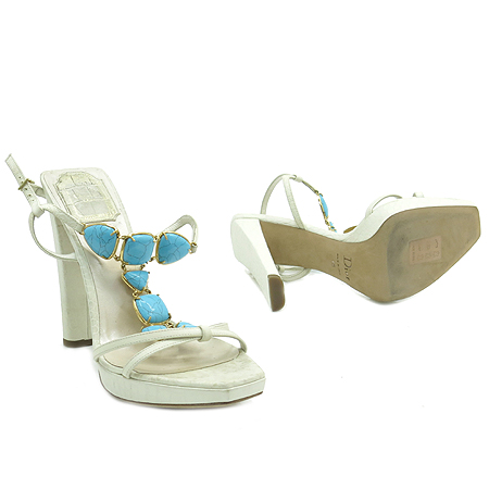 Dior(크리스챤디올) 스카이 블루 스톤 장식 여성용 하이힐 샌들 [강남본점] 이미지3 - 고이비토 중고명품