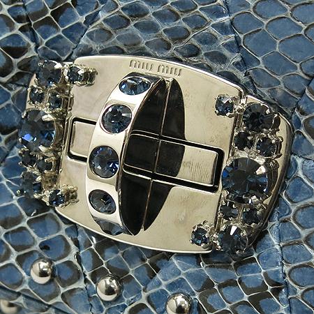 MiuMiu(미우미우) RP0198 다크블루 파이쏜패턴 래더 은장로고 크리스탈장식 한정판 포쉐트 체인파우치