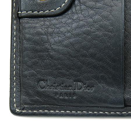 Dior(크리스챤디올) 블랙 레더 금장 로고 장식 중지갑