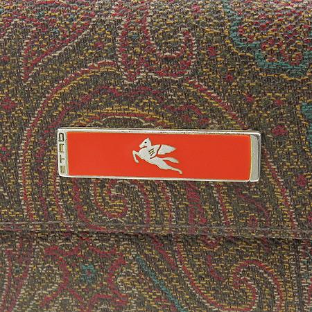Etro(에트로) 13870 페이즐리 패턴 오렌지 로고 페가수스 장식 중지갑