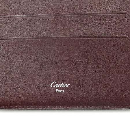 Cartier(까르띠에) 루비라인 블랙 레더 3단 중지갑