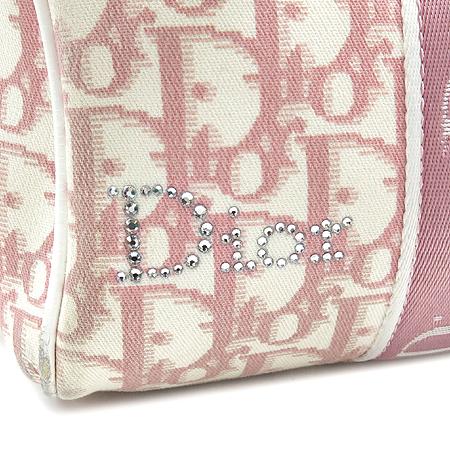 Dior(크리스챤디올) BO B0094 핑크 PVC 로고 플라워 큐빅 장식 보스톤 토트백