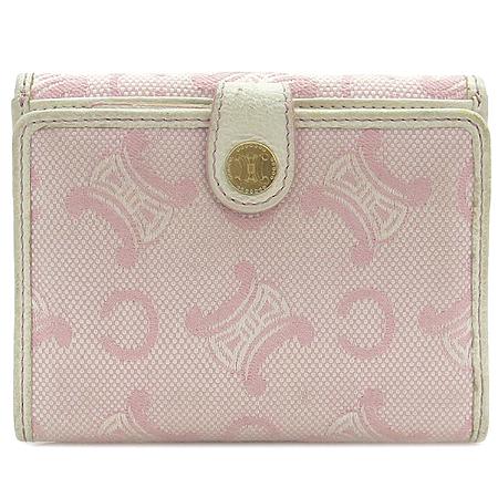 Celine(셀린느) 핑크 패브릭 블라종 로고 반지갑