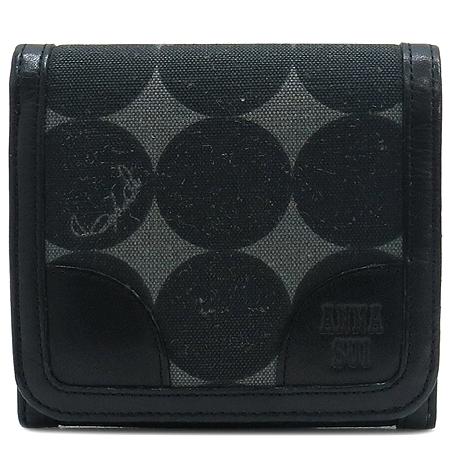 Anna Sui(안나수이) 블랙 써클 로고 패브릭 3단 반지갑