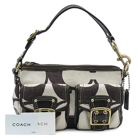 Coach(코치) 패브릭 시그니처 투 포켓 금장 버클 장식 숄더백
