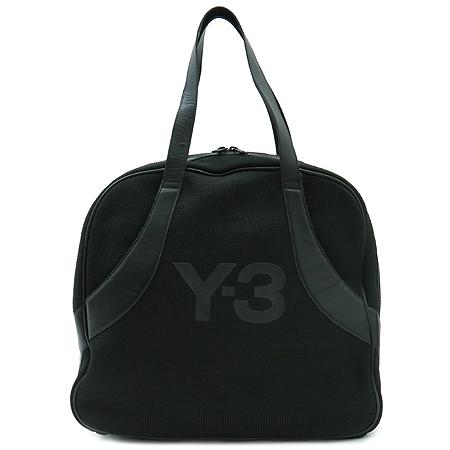 YOHJI YAMAMOTO (요지 야마모토) 블랙 패브릭 Y-3 로고 토트백