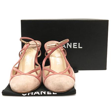 Chanel(샤넬) 핑크 스웨이드 사이드 오픈 슬링백 여성용 구두