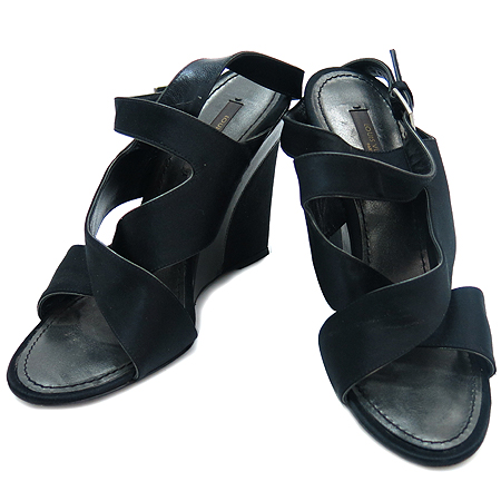 Louis Vuitton(루이비통) 블랙 실크 웨지힐 구두