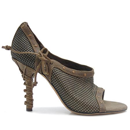 Dior(크리스챤디올) 빈티지 골드 메탈릭 장식 오픈토어 여성 구두
