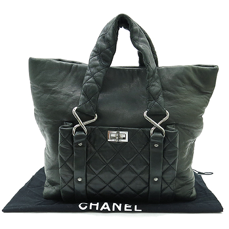Chanel(샤넬) 은장 원포켓 카키 그레이 래더 빈티지 퀼팅 토트백