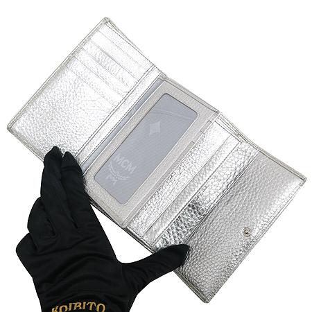 MCM(엠씨엠) 1032086020322 은장 로고 장식 비세토스 블랙 멀티 실버 메탈릭 레더 중지갑 이미지2 - 고이비토 중고명품