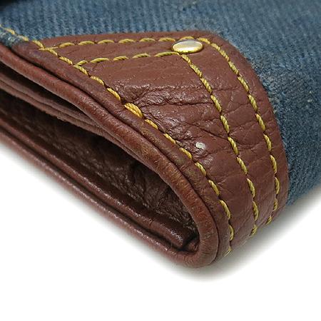 Celine(셀린느) 스터드 장식 데님 로고 패턴 브라운 래더 여성용 반지갑 [강남본점] 이미지5 - 고이비토 중고명품