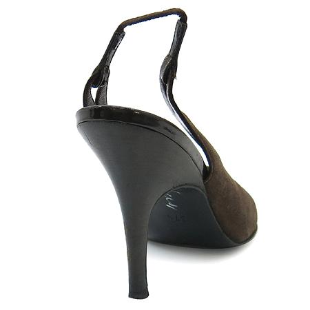 Chanel(샤넬) 브라운 스웨이드 래더 여성용 슬링백 구두