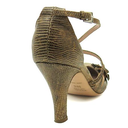 Prada(프라다) 파이손 패턴 래더 플라워 장식 플랫폼 여성용 구두