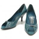 Ferragamo(페라가모) 은장 간치니 로고 장식 블루 래더 오픈토 여성용 구두 [대구반월당본점]