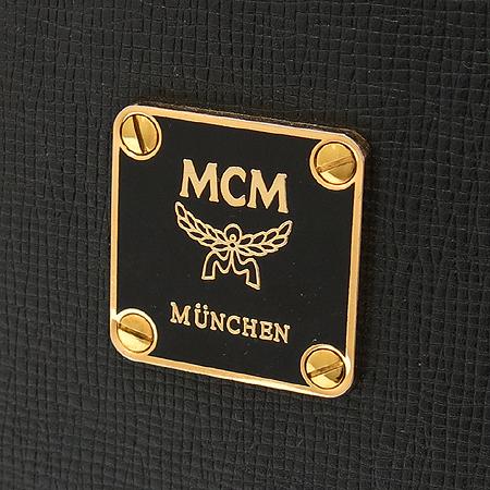 MCM(엠씨엠) 블랙 래더 금장 로고 장식 양동이 토트백