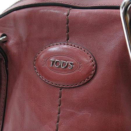 Tod's(토즈) 은장 버클 장식 와인 래더 빈티지 볼링 토트백 + 숄더 스트랩 [부산센텀본점]