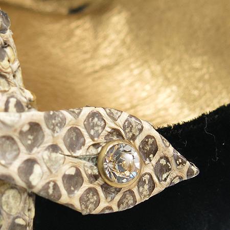 D&G(돌체&가바나) 블랙 스웨이드 파이손 패턴 장식 펌프스 여성용 구두