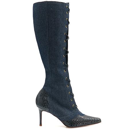Dior(크리스챤디올) 데님 파이손 가죽 짚업 여성용 롱부츠