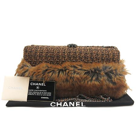 Chanel(샤넬) 털장식 트위드 체인 숄더 겸 클러치 백 [부산본점]