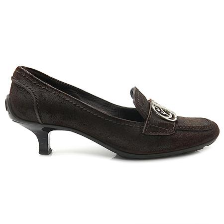 Louis Vuitton(루이비통) LV 은장로고 빈티지 스웨이드 여성 미드힐 구두