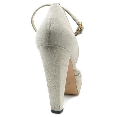 Gucci(구찌) 리본 장식 아이보리 컬러 스웨이드 가보시 여성용 구두