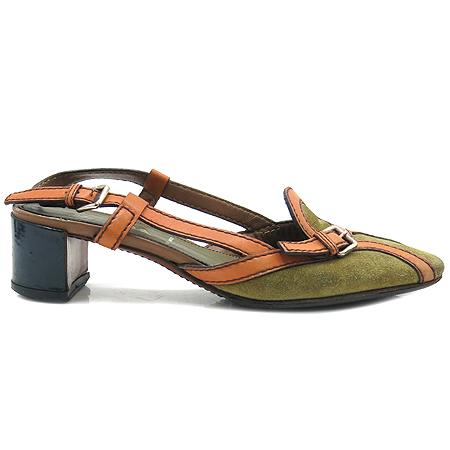 Prada(프라다) 오렌지 레더 트리밍 스웨이드 슬링백 여성용 구두