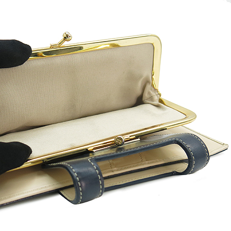 KATESPADE(케이트스페이드) 금장 블루 래더 스티치 장지갑