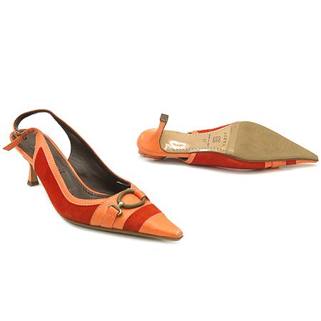 Loewe(로에베) 오렌지 컬러 스웨이드 트리밍 슬링백 여성용 구두 [강남본점]